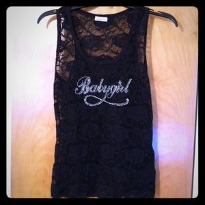 Black lace blingy baby girl tank top